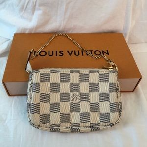 Mini Louis Vuitton Wristlet (Damier Azur Canvas)